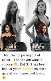 Scarlett Johansson Meme - gal gadot wonder woman scarlett johansson black widow tbh i m not