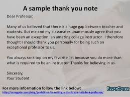 guidelines for writing a thank you note to a professor