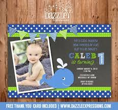 printable preppy whale chalkboard birthday photo invitation boy