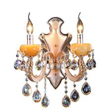 Candle Holder Wall Sconces Luxury 2 Light Alloy Crystal Wall Sconce Candle Holder