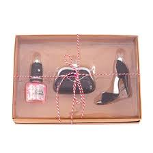 glass high heel purse nail ornament set 3ct
