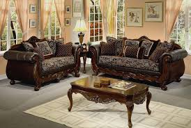 livingroom furniture sets brown wood carved sofa and coffee table for grain floor