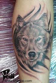 watercolor portrait of two of wolves tattoo on shoulder tattoos