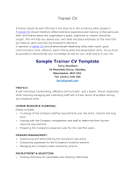 sample resume personal trainer resume for your job application