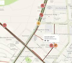 Waze Map Traffic Along Edsa In Pasig U0027s Ortigas District Heavy To