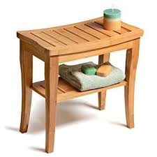 Bench With Storage Amazon Com Bamboo Shower Seat Bench With Storage Shelf For