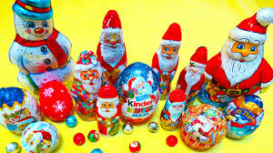christmas surprise eggs and toys santa claus kinder chocolate