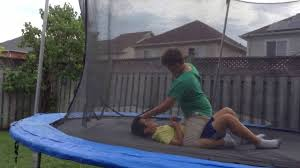 kids have huge wwe fight on trampoline fight 3