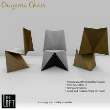 Dining Chair Cherry Second Life Marketplace The Loft Origami Dining Chair Cherry