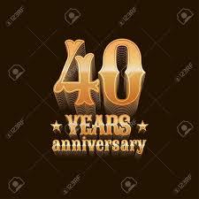 40 years anniversary vector icon 40th birthday decoration design