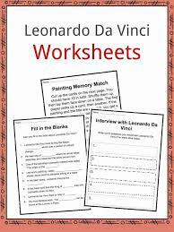 leonardo da vinci biography for elementary students leonardo da vinci facts worksheets biography for kids