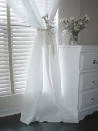 Curtains On Windows With Blinds Inspiration Spiffy Single White Curtains And White Ribbon Accesories Added