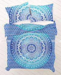 Indie Bedspreads Blue Green Mandala Duvet Cover Set With Pillows Throw Size 228