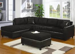 Suede Sectional Sofas Microfiber Faux Leather Contemporary Sectional Sofa 500735 Black
