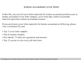 Resume Sample For Accountant Position by Trainee Accountant Cover Letter
