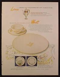 magazine ad for lenox china wheat pattern in coupe shape 1953