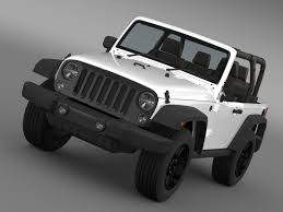 modified white jeep wrangler jeep wrangler willys 2014 3d cgtrader