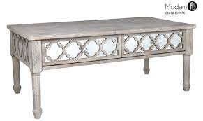 antique style wood coffee table with mirrored front wood and