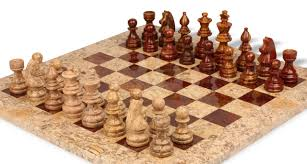 coral stone u0026 red marble staunton chess set with 16