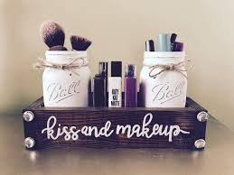 bathroom makeup storage ideas kiss and makeup mason jar makeup storage makeup storage kiss