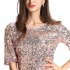 women half sleeve loose sequin t shirt cocktail party shiny