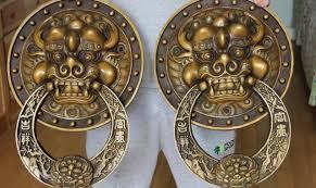 foo dog door knocker free shipping copper bronze feng shui foo dog lion