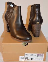 s ugg australia lodge boots ugg australia poppy lodge brown leather booties boot stacked heel