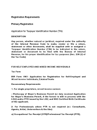 registration requirements with bir taxpayer identity document