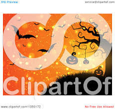 clipart of a halloween background of illuminated silhouetted