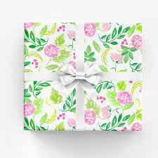 floral gift wrapping paper gwyneth gift wrap pink watercolor illustration and surface