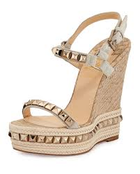 christian louboutin cataclou python embossed cork wedge in brown