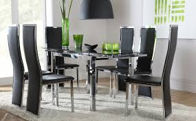 Unique Round Glass Dining Table For  And Black Chairs - Round glass dining room table sets