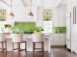 Green Kitchen Design A White Kitchen With Green Tile Backsplash