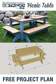 Make A Picnic Table Free Plans by Diy Picnic Table Free Printable Project Plans At Buildsomething