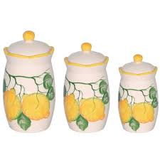 lemon design 3 piece canister set
