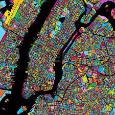 New York Manhattan Map New York City Manhattan Colorful Map On Black Hebstreits