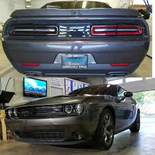 Dodge Challenger Tail Lights - gloss black grille wrap tinted tail lights side markers and