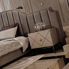 deco inspired high end upholstered bed with extended headboard