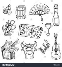 hand drawn collection spanish symbols doodle stock vector
