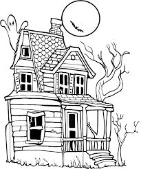 halloween haunted house coloring pages getcoloringpages