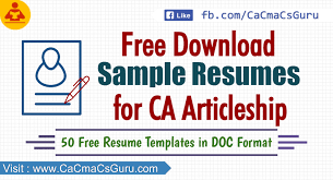 Sample Resume In Doc Format Download Sample Resumes For Ca Articleship U0026 Cma Cs Training