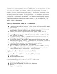 Resume For Montessori Teacher Jobs Isla