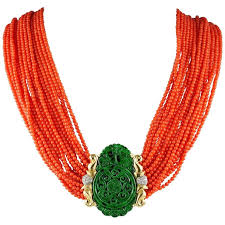 diamond necklace red images Vintage natural red coral green spinach jade diamond necklace for jpg