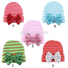 baby bling bows sequined bows newborn baby stripped crochet hats children s