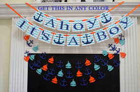 Nautical Theme Baby Shower Decorations - ahoy it u0027s a boy baby shower banner nautical theme baby shower