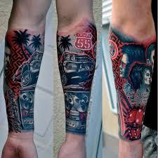 colorful car parts tattoo on forearm random i like