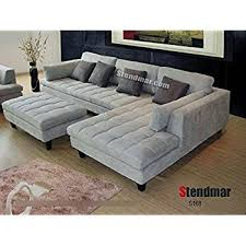 amazon com 3pc new modern gray microfiber sectional sofa s168rg