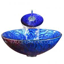 Blue Bath Sink Pattern Carved Single Bowl With Faucet - Blue bathroom 2