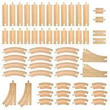Making Wooden Toy Train Tracks by Amazon Com Wooden Train Track Set 52 Piece Pack 100 Compatible
