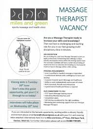 Massage Therapist Job Duties Latest News And Offers Miles And Green Sports Massage And